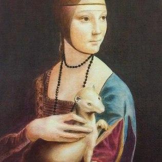 Mukaelmamaalaus Da Vincin teoksesta Lady and Ermine. , 55 x 40 cm, öljy kankaalle2016.