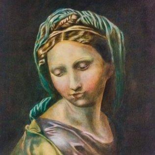 Mukaelmamaalaus Rafeallin teoksesta Madonna of the Pearl, 59 x 52 cm, öljy kankaalle, 2016.